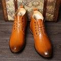2016 de moda cómodas botas de los hombres botas de invierno de Cuero Suave y cálida, calidad tobillo botas hombres botas de invierno Martin zapatos de nieve de la marca botas