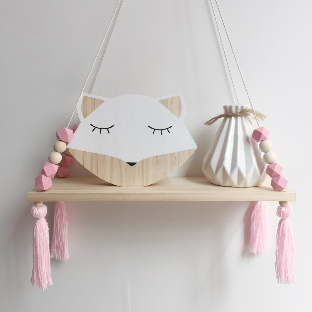 Hot sale bedroom wall Shelf DIY Original Wood Beads Storage Shelf Organization swing shelf Home Decor kids room wall decoration