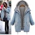 Female Large female jean jacket Warm Women Hooded Coat Jeans Denim Jackets Double pices Long Basic Ladies Top Windbreaker