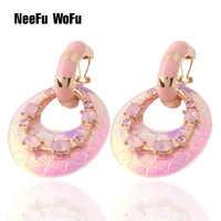 NeeFu WoFu rosa Fluoreszenz leder Ohrring mode schmuck Gedruckt ringe für frauen glas orecchini bijoux femme Ohrringe