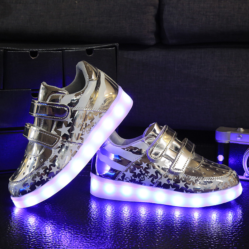 New Arrivals  Winter and Autumn Children 's  Star Blue LED Rechargeable Lamp Shoes USB Charging Glowing Flat Shoes 7 Colors children s shoes girls boys shoes led tennis glowing sneakers with luminous sole usb charging magic stickers kids shoes
