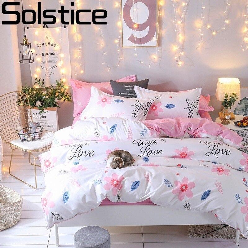Solstice de Bande Dessinée Rose fleurs ins style 4 pcs Ensembles de Literie Drap de Lit Housse de Couette Taie D'oreiller Linge de lit Lits Complet Reine roi