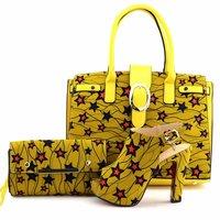 Hot sale yellow women pumps and two bag stars design african shoes match handbag set for dress V50 1