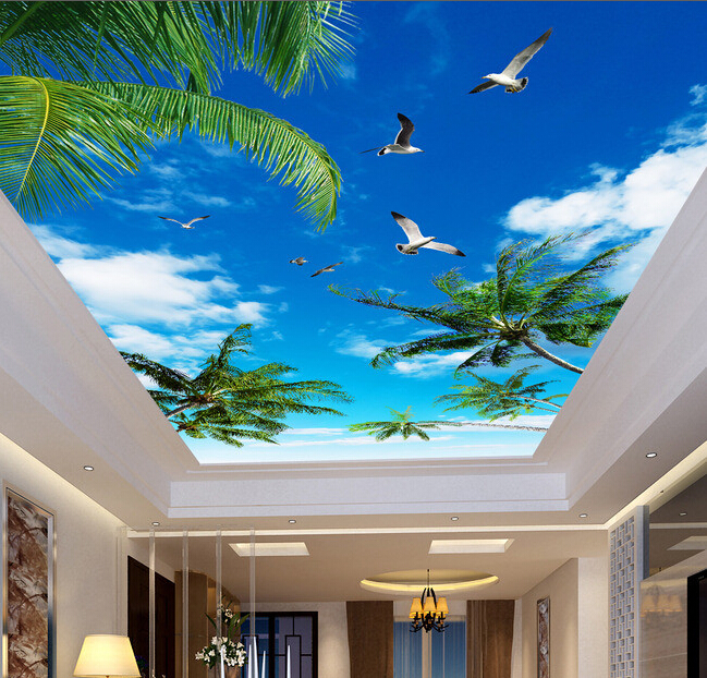 Custom wallpaper ceiling murals, palm blue sky for the living room ceiling apartment hotel background wall vinyl papel de parede high definition sky blue sky ceiling murals landscape wallpaper living room bedroom 3d wallpaper for ceiling