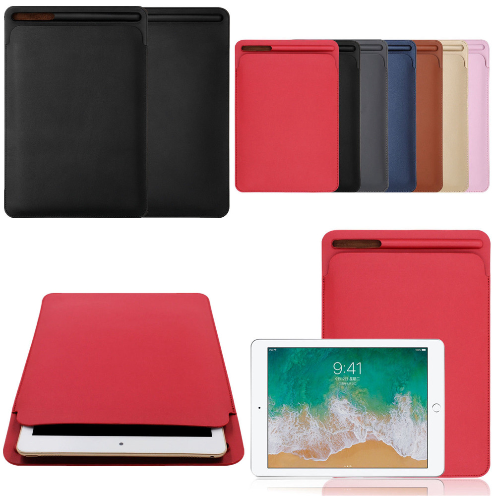 Premium PU Sleeve Soft Shockproof Case for iPad Pro 10.5 2017 Pouch Bag Cover with Pencil Slot for iPad Pro 9.7 inch for ipad pro 12 9 inch case sleeve esr protective carrying bag with back pocket pencil holder pouch for ipad pro 12 9 2015 2017