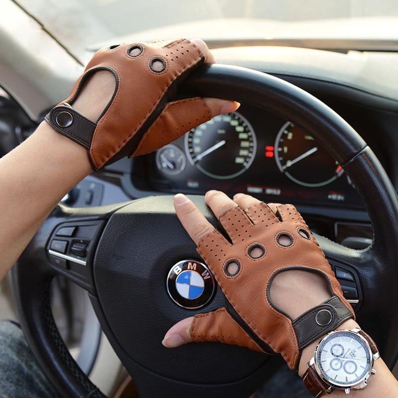 Spring Summer Mens Leather Gloves Unlined 100% Goatskin Mitten For Male Half Gloves NEW Man Fingerless Fitness Driving Gloves
