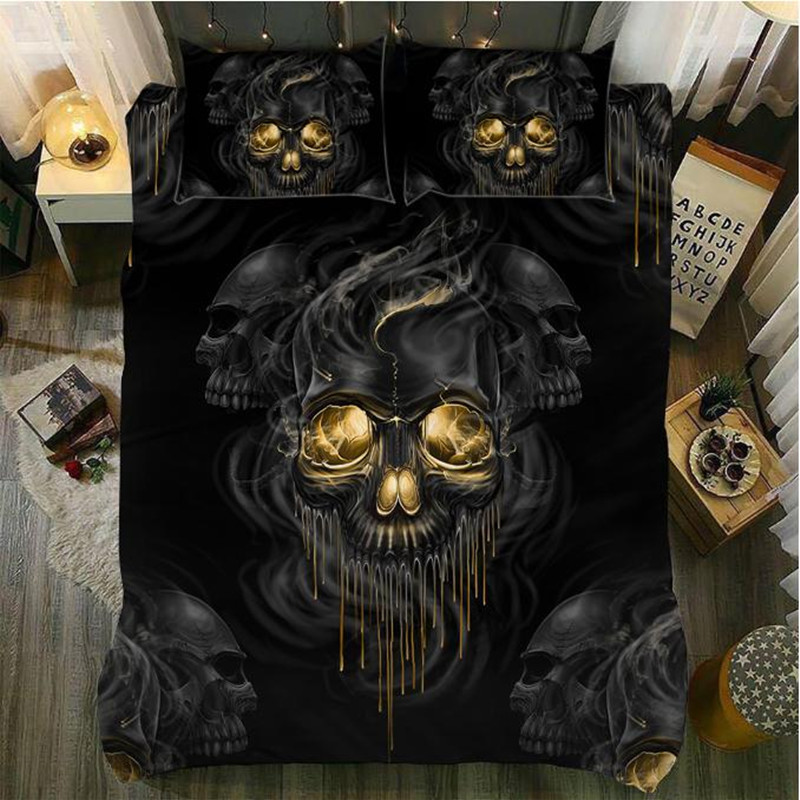 Yi chu xin 3d skull bedding set cover queen size quilt cover with pillowcase Bedclothes bedline Home textile