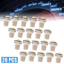 For Car Truck Boat 20pcs 12V 6000K White Side Light Bulb T5 B8.3D 5050 1SMD LED Dashboard Panel Wedge Auto Interior Lamp Mayitr
