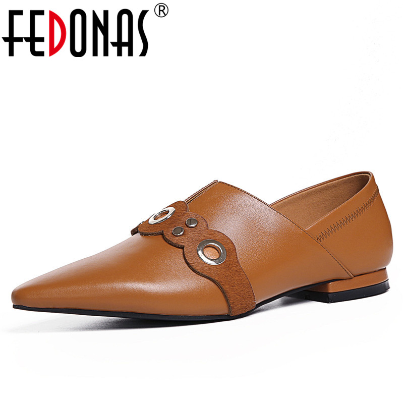 FEDONAS Retro Women Genuine Leather Shoes Woman Sexy Pointed Toe Buckles Slip-on Autumn Low Heels Comfortable Pumps Female Shoes fedonas new women pumps 2018 mary jane high heels sexy pointed toe slip on wedding party shoes for lady buckles female pumps