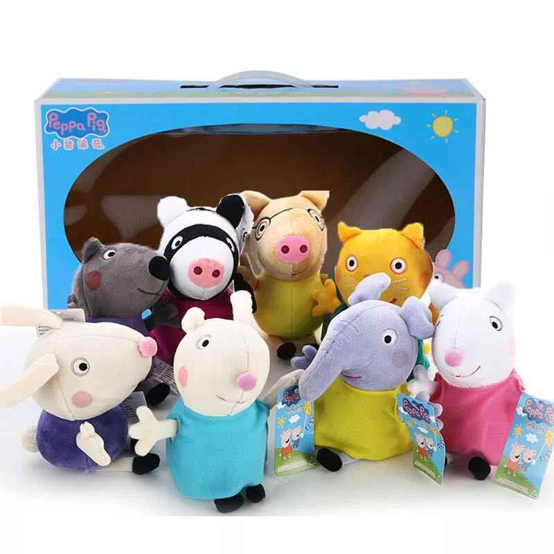 8pcs Set 19cm Genuine Peppa Pig 8 Friend Candy Danny Emily Pedro Rebecca Richard Suzy Zoe Plush Toy Stuffed Doll Gift For Kids