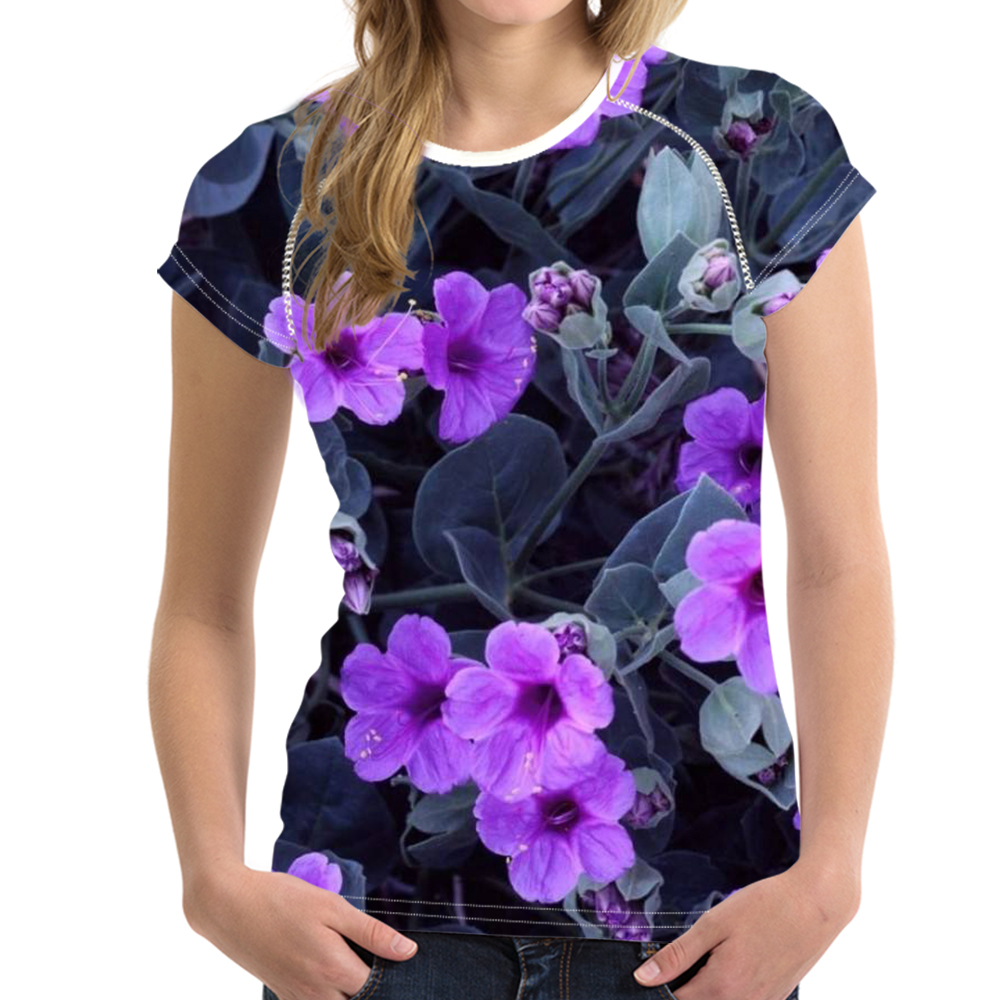 forudesigns petunia design t shirt women 3d floral purple tee breathable shirts girls t shirts