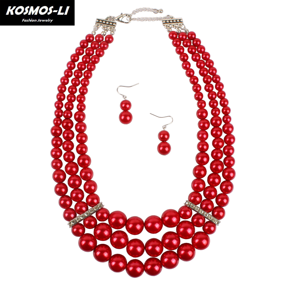 KOSMOS-LI pearl necklace new fashion multi layer strand necklace women pearl bead bohemia statement necklace jewelry 1220