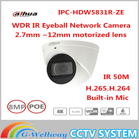 Original Dahua IPC-HDW5831R-ZE 2017 New Arriving cameras 8MP WDR IR Eyeball Network Camera IPC-HDW5831R-ZE free DHL shipping new original a62p with free dhl