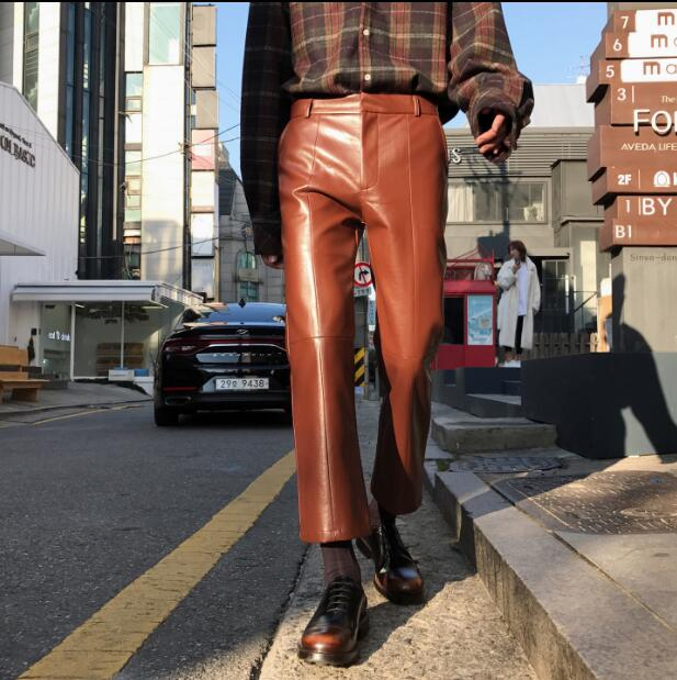 27-32!!Men's new products wear line stitched together in the four seasons with a soft leather nine-point trousers 38