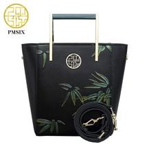 2017 New Arrival Bamboo Embossing Women Handbag Metal Handle Vintage Leather Messenger Bag Fashion Crossbody Shoulder Bag