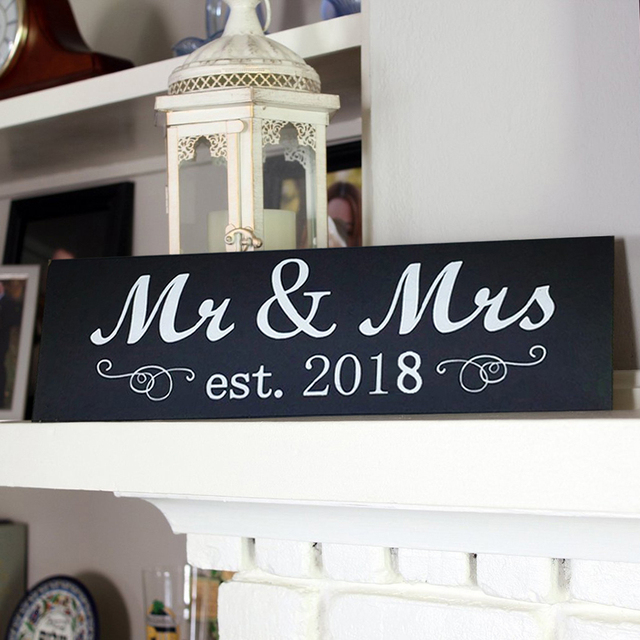 2018 Mr And Mrs Sign Wooden Sweet Table Wall Decoration For Wedding Anniversary Photo Props