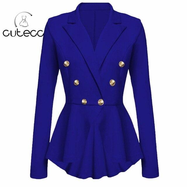 Mujeres peplum Delgado volante asimétrico hem Blazers chaqueta manga larga  doble de pecho señora Oficina desgaste f78127a44f3b