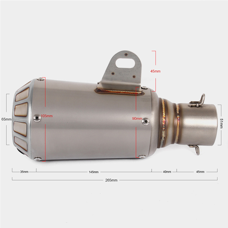 Stainless Steel 51mm Motorcycle Muffler Exhaust Pipe Exhaust Mufflers Pipe Motorcycle Accessories in Exhaust Exhaust Systems from Automobiles Motorcycles