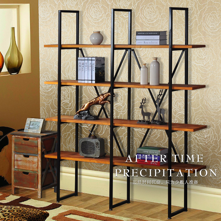 Simple Retro Iron Wood Bookcase Bookcase Creative Wrought