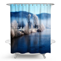 Senisaihon 3D Shower Curtains Finnish Snow Scene Series Pattern Polyester Waterproof Fabric Bathroom Curtains +12 Hooks