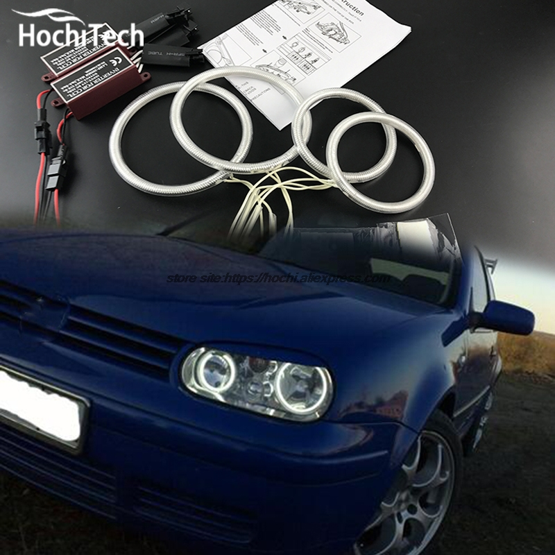 HochiTech ccfl angel eyes kit white 6000k ccfl halo rings headlight For Volkswagen VW Golf Mk4 1998 to 2004 for uaz patriot ccfl angel eyes rings kit non projector halo rings car eyes free shipping