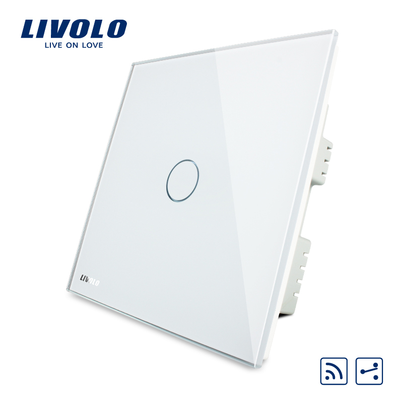 Livolo UK standard 2-Way Wireless Home Light  Remote Switch,Ivory White Crystal Glass Panel,AC 220-250V VL-C301SR-61,No remote uk standard wireless switch luxury crystal glass panel 1 gang 1 way home light switch remote touch switch vl c301r 63