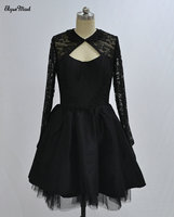 Luxury Scoop Cocktail Dresses Lace 2018 Long Sleeves Black Sexy Backless Short Prom Party Dresses