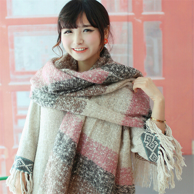 Winter Scarf Warm Wool Scarf Vintage Knitted Women Fashion Tassel Scarf Plaid Cotton Fake