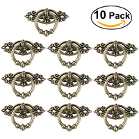 OULII 10pcs Vintage Kitchen Cabinet Cupboard Dresser Door Drawer Ring Pull Handles Knobs Antique Brass