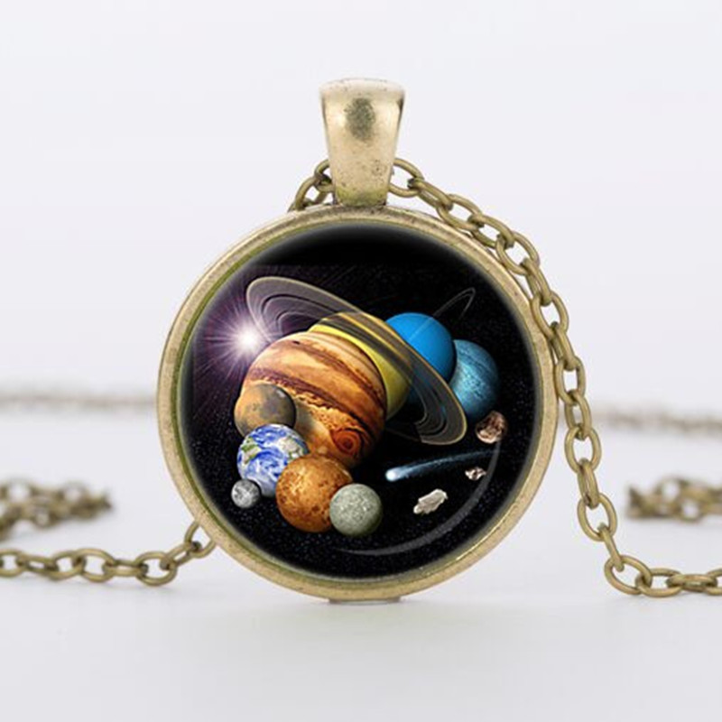 New SOLAR SYSTEM PENDANT Astronomy Pendant Space Jewelry galaxy Necklace Planet Jewelry Multicolor Geek Gift 2