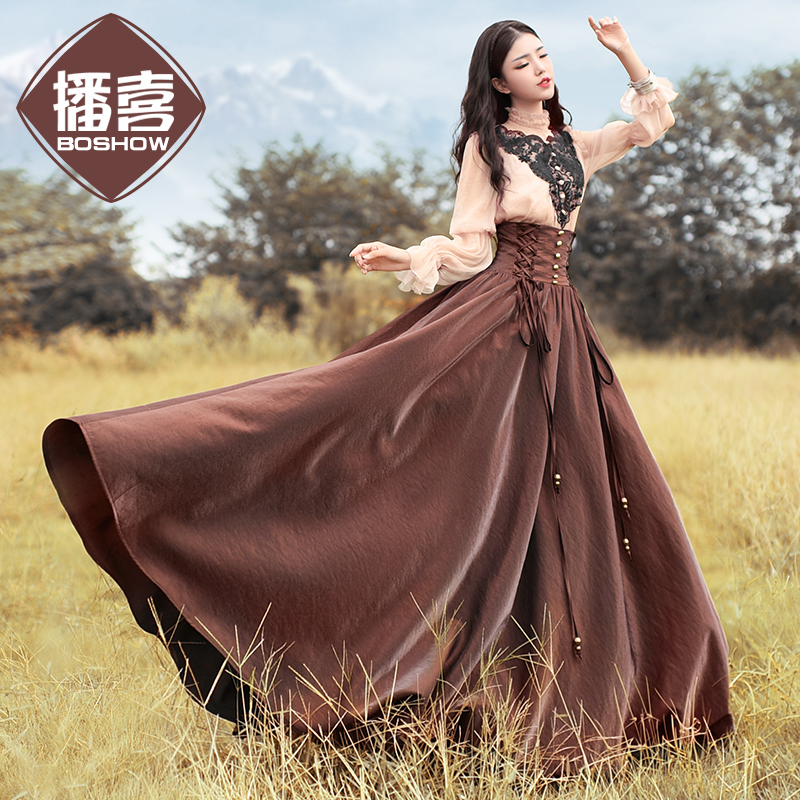 Free Shipping 2020 New Boshow Long Maxi High Waist Autumn And Winter Royal Vintage Spring And Autumn A-line Skirt For Women S-L