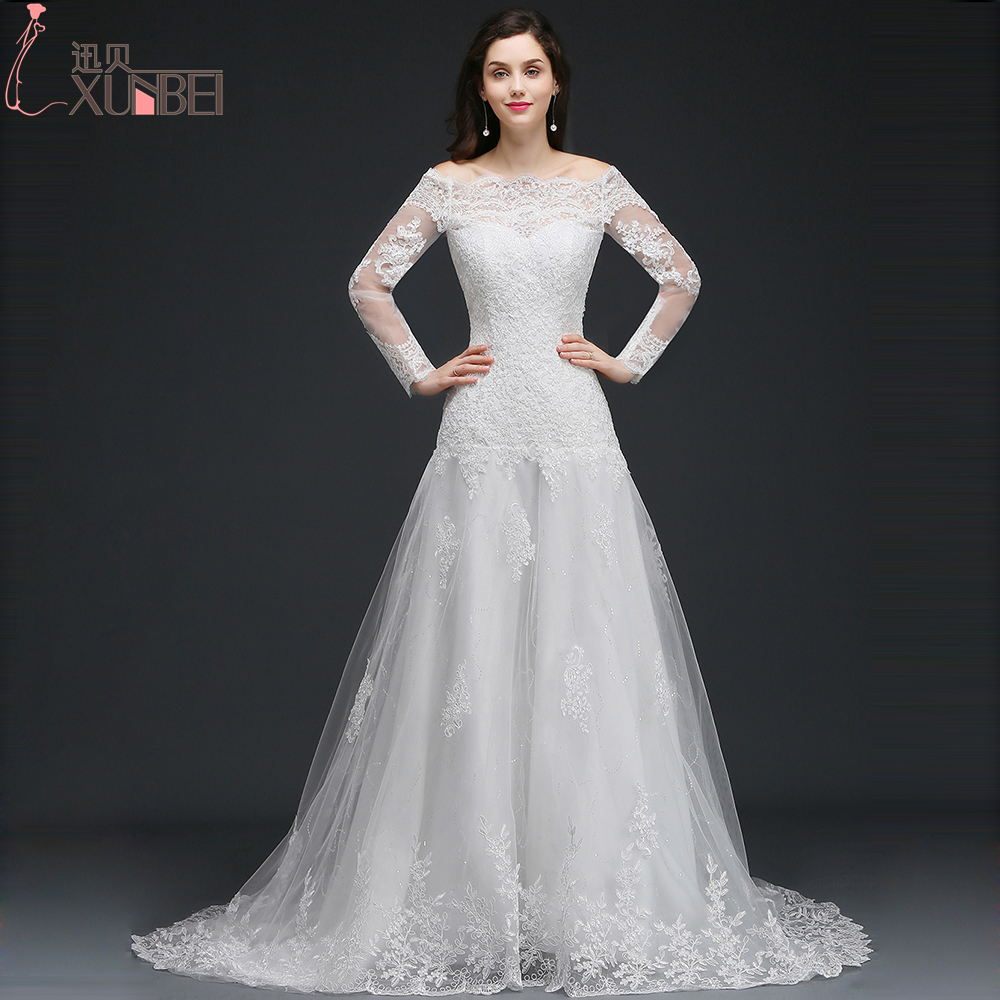 Beautiful White/Ivory Mermaid Long Sleeves Wedding Dresses 2017 Sheer Back Lace Wedding Gowns Off Shoulder vestidos de noiva