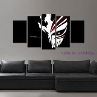 Large Framed Decor Original BLEACH Kurosaki Ichigo Mask print decoration canvas in 5 pieces