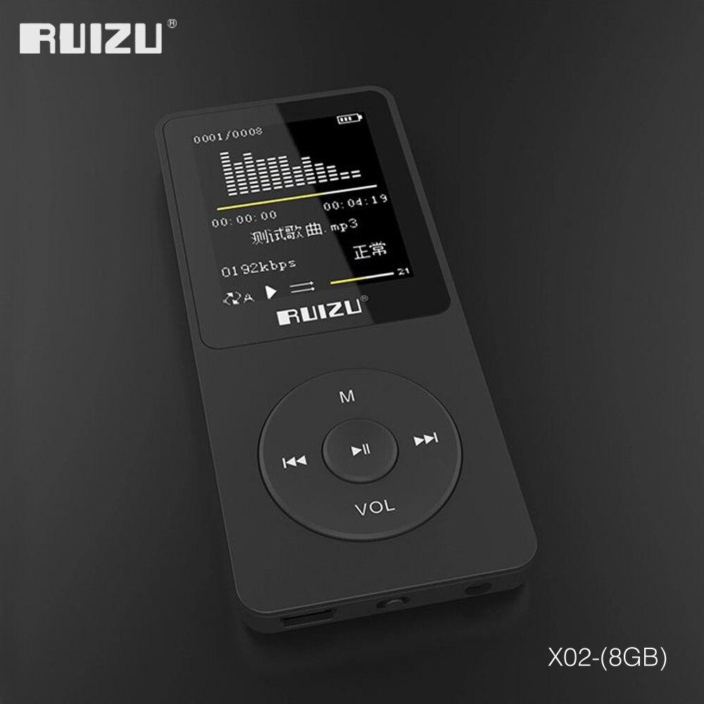 2016 100% original Inglês versão Ultrafinos MP3 Player com Tela 8 gb de armazenamento e 1.8 Polegada pode jogar 80 h, original RUIZU X02