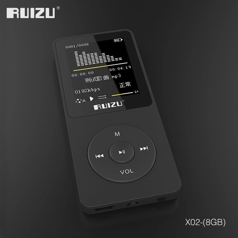 2016 de 100% versión original en inglés ultrafino MP3 Player con 8 GB de almacenamiento y de 1,8 pulgadas de pantalla puede jugar 80 h Original RUIZU X02