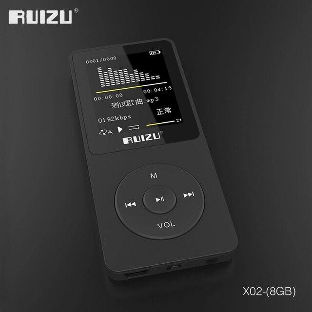 مشغل أصلي RUIZU X02 MP3 مع تخزين 8 جيجابايت شاشة 1.8 بوصة صغيرة محمولة رياضية Mp3 دعم راديو FM ، كتاب إلكتروني ، ساعة ، مسجل