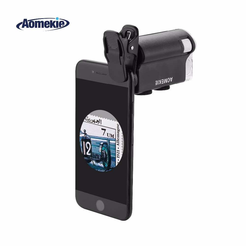 AOMEKIE 60X-100X Mikroskop Zoom Lupa do aparatu w telefonie komórkowym Materiał Biologia Obserwuj mikroskop oceniający biżuterię z diodą UV