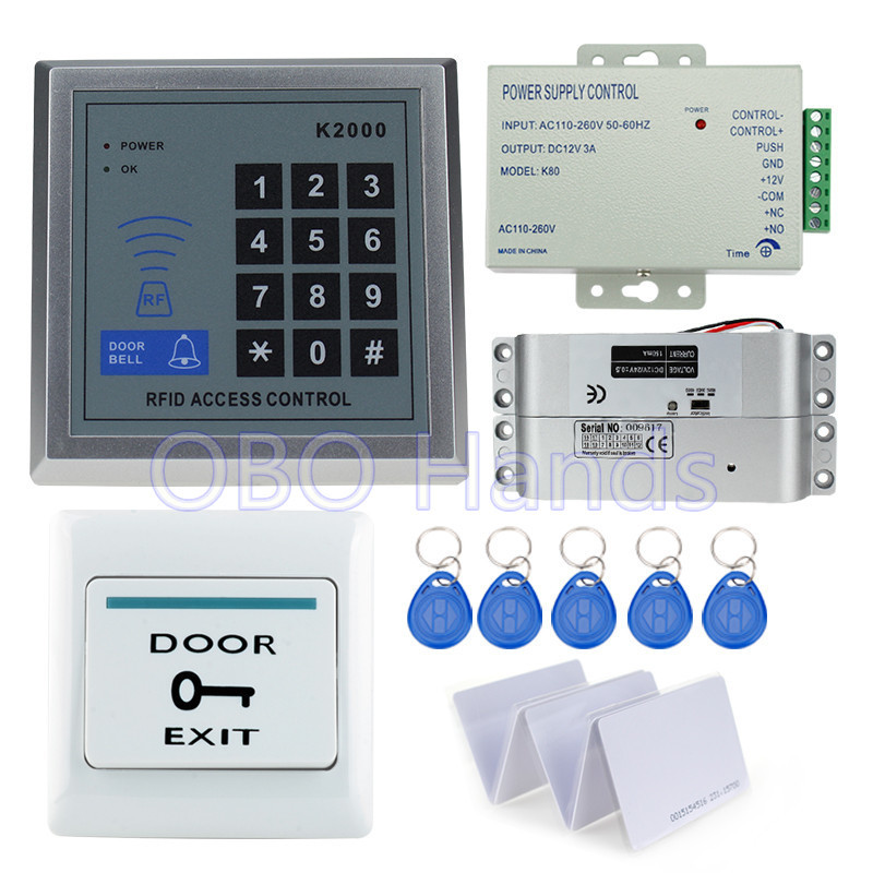 Hot sale completed door access control keypad system kit K2000 electric drop bolt lock+power supply+exit button+10pcs key cards full kit access control biometric fingerprint x6 electric strik lock power supply exit button door bell remote control key cards