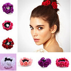 2018 1Pc Newest Floral Flower Hair Scrunchie Band Elastic Bridal Bun Garland Head Knot