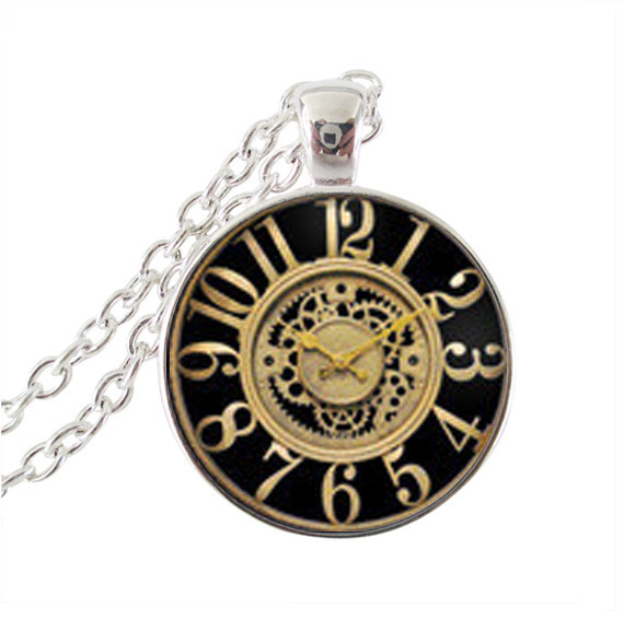 Clock pendant necklace glass cabochon gem peter pan jewelry choker silver alloy galaxy collar statement necklaces for women men