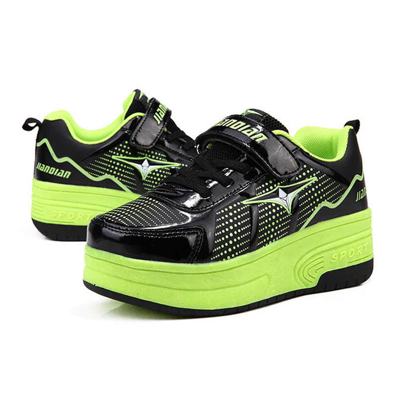 f62cfb3846 Kids Roller Shoes Teenage Sneakers 2018 Girls Wheeled Shoes Leather  Children Boys Sport Shoes With Two Wheels for Adult