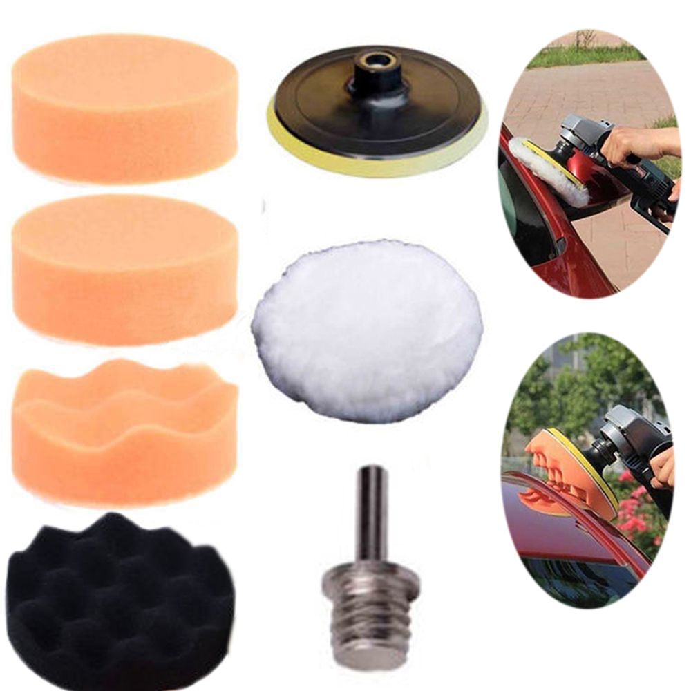 7pcs new 3inch buffing pad auto car polishing wheel kit buffer m10 drill adapter