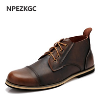 2016 New Handmade Genuine Leather Men Outdoor Autumn Winter Boots High Quality Winter Men Boots Ankle