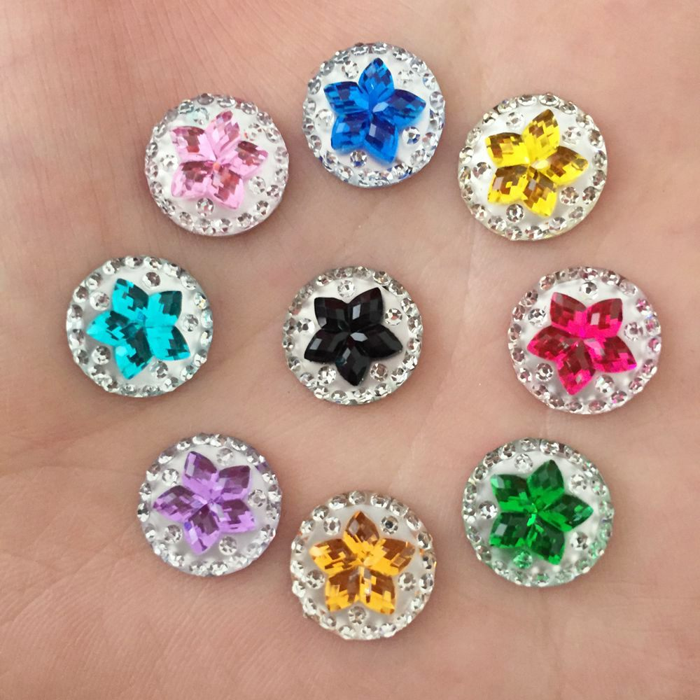Wedding Flowers In Resin: Resin Round 80pcs 12mm Flower Flatback Scrapbook /Wedding