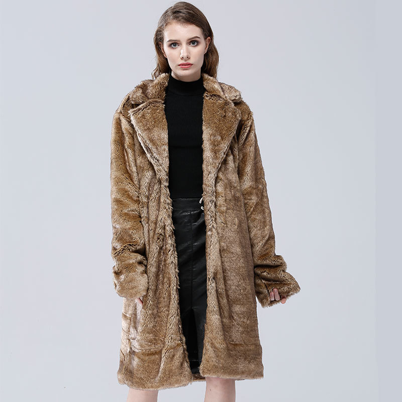 Winter Fur Overcoat Long Faux Fur Women Imitation Mink Winter Thick Warm Faux Fur Coat Jacket Large Grey Fashion Casual Fake New