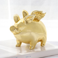 Money Box Pig Piggy Bank For Coins Money Child Golden Mascot With Wing Ornament Home Decoration Coin Prganizer R516