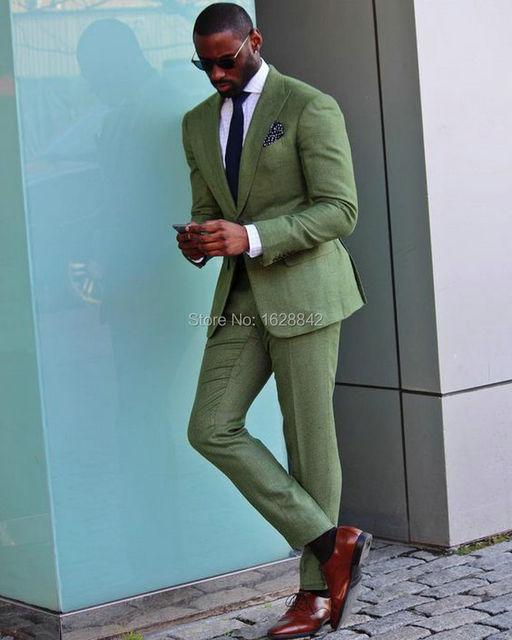 Venta 2016Hot Oliver Verde Traje de 2 Piezas de Un Solo Pecho Botones de Puño Traje de boda Para Los Hombres Por Encargo Terno de homem de microfibra