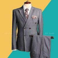 Для мужчин двубортный костюм Для мужчин; 3 предмета Бизнес Профессиональный Костюмы мужской серый в полоску Костюмы куртка для свадебное пл