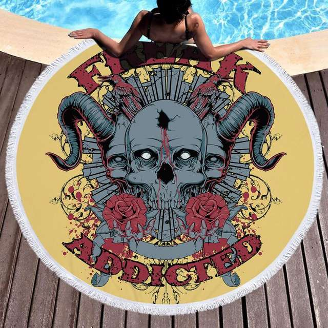 FREAK ADDICTED SKULL ROUND BEACH TOWEL