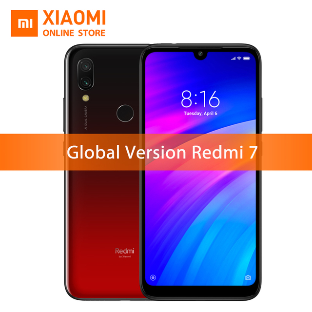 Global Version Xiaomi Redmi 7 3GB 32GB Snapdragon 632 Smartphone Octa Core 4000mAh 6.26'' Phone Full screen 12+2MP Dual Camera